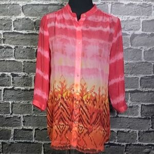 Chico's Blouse Sz 8 Semi Sheer Ombre Print